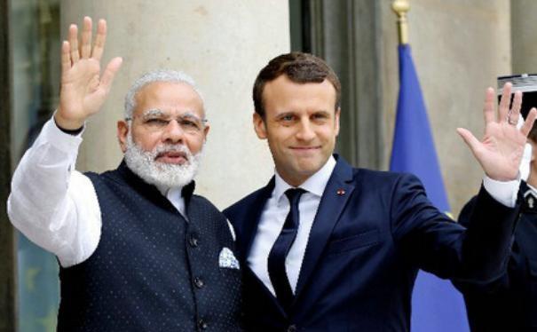 Ngày 3/6/2017, Thủ tướng Ấn Độ Narendra Modi tiến hành hội đàm với Tổng thống Pháp Emmanuel Macron. Ảnh: Reuters/Kyodo