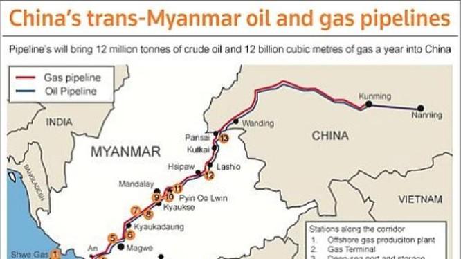 Trung Quốc xây dựng đường ống dầu khí đi qua Myanmar để tránh eo biển Malacca. Ảnh: Oil Seed Crops.