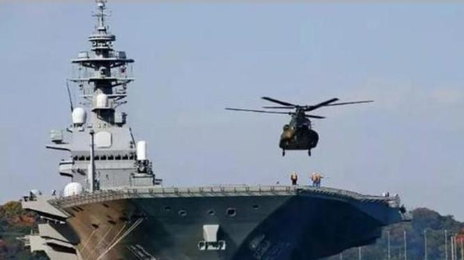 Tàu sân bay trực thăng Izumo Lực lượng Phòng vệ Biển Nhật Bản. Ảnh: Sina