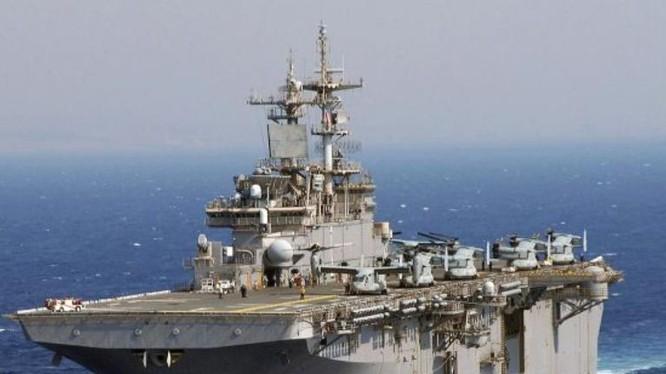 Hải quân Mỹ đã triển khai tàu tấn công đổ bộ USS Wasp ở Nhật Bản từ ngày 14/1/2018. Ảnh: Cankao.