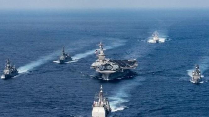 Cụm tấn công tàu sân bay USS Carl Vinson hải quân Mỹ. Ảnh: Guancha.