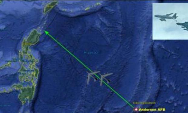 Máy bay ném bom B-52H tiếp tục tiến hành huấn luyện trên Biển Đông. Ảnh: Sina.