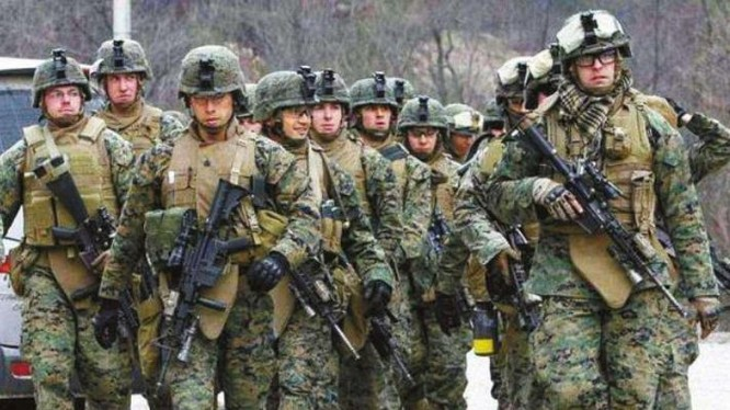 Lực lượng quân đội Mỹ tại Hàn Quốc tiến hành huấn luyện. Ảnh: Cankao.