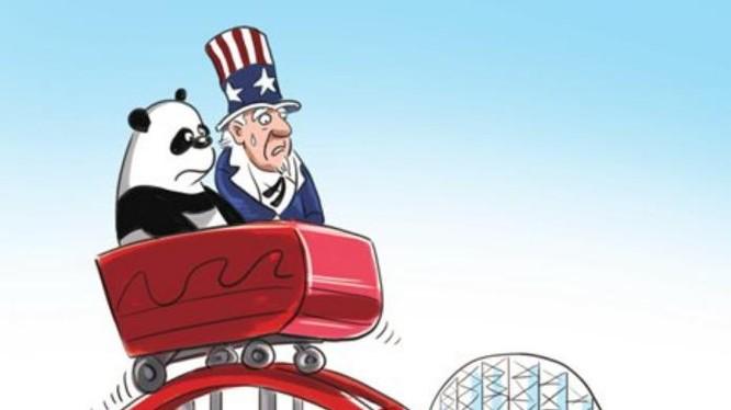 Quan hệ Trung - Mỹ rung chuyển do xảy ra chiến tranh thương mại. Ảnh: Global Times.