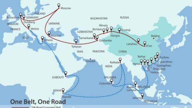 """Chiến lược """"Vành đai, con đường"""" của Trung Quốc. Ảnh: Asia Times."""