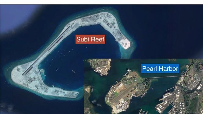 Đá Subi ở quần đảo Trường Sa đã bị Trung Quốc bồi lấp trái phép thành đảo nhân tạo, xây dựng đường băng, nhà chứa máy bay và các công trình kiên cố với quy mô một căn cứ quân sự lớn