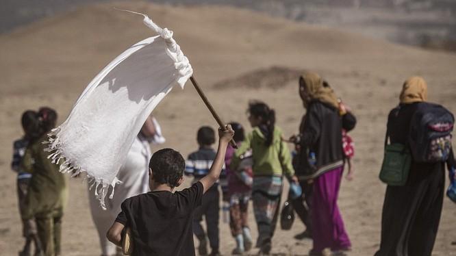 Một em nhỏ cầm cờ trắng trong dòng người chạy thoát khỏi Mosul