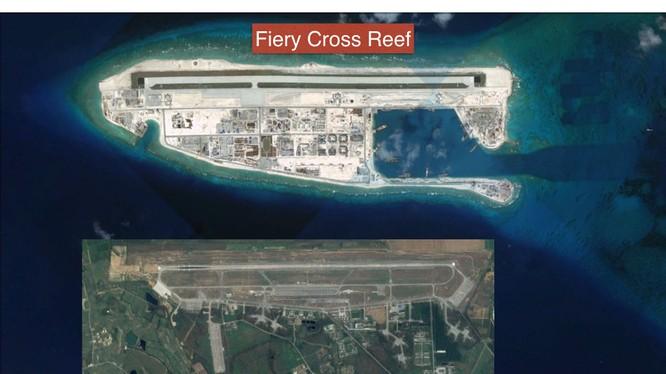 Trung Quốc ngang nhiên xây dựng đảo nhân tạo và đường băng. nhà chứa máy bay và các công trình quân sự trái phép trên Đá Chữ Thập thuộc quần đảo Trường Sa của Việt Nam