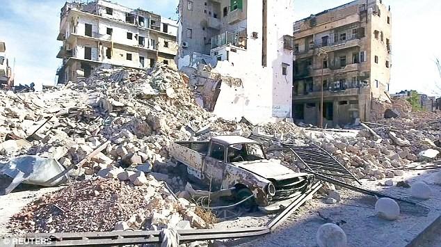 Cảnh hoang tàn, đổ nát do chiến tranh ở Aleppo