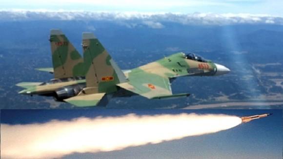 Su-30MK2 của không quân Việt Nam phóng tên lửa diệt mục tiêu