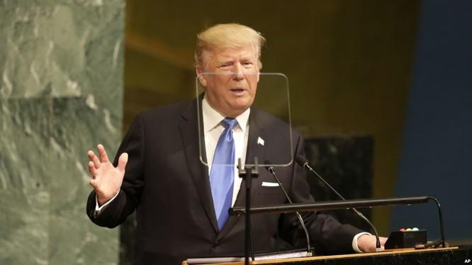 Tổng thống Mỹ Donald Trump phát biểu tại Đại hội đồng Liên Hiệp Quốc tại trụ sở Liên Hiệp Quốc ở New York ngày 19/9/2017.