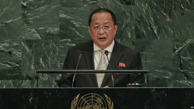 Bộ trưởng Ngoại giao Triều Tiên Ri Yong Ho phát biểu tại Đại hội đồng Liên Hiệp Quốc ở thành phố New York, ngày 23/9/2017.