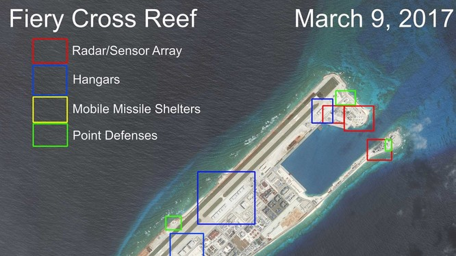 Đá Chữ Thập đã bị Trung Quốc bồi lấp, xây dựng thành đảo nhân tạo trái phép với đường băng dài 3.000m, nhà chứa máy bay, cầu cảng và các công trình quân sự kiên cố