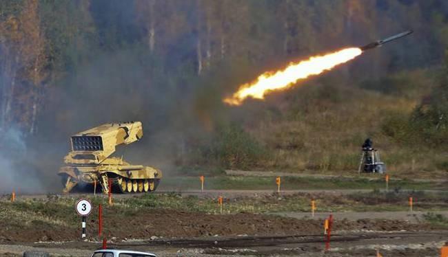 Hệ thống pháo phản lực nhiệt áp Buratino TOS-1 khai hỏa