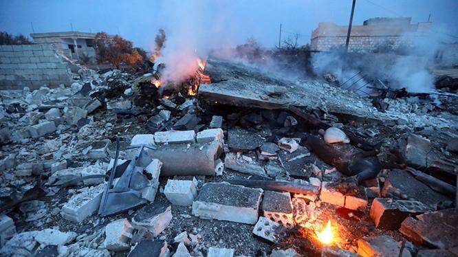 Hiện trường vụ rơi Su-25 Nga