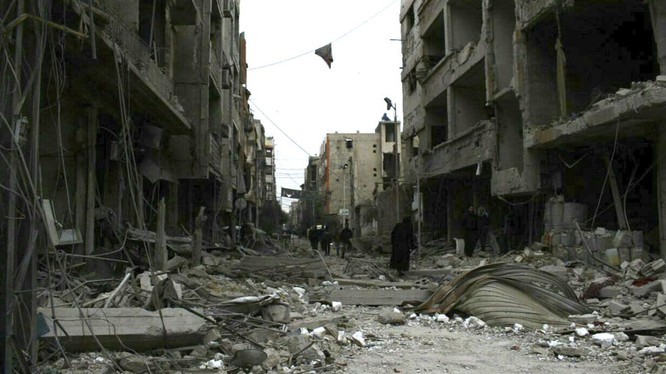 Cảnh đổ nát ở Đông Ghouta