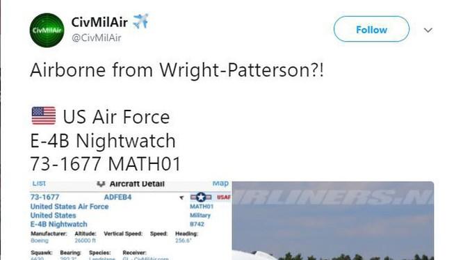 Thông tin về chiếc Boeing E-4B Nightwatch của Mỹ cất cánh khiến dư luận lo ngại
