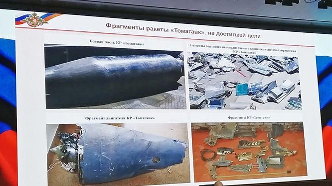 Bộ tổng tham mưu quân đội Nga trưng bày bằng chứng tên lửa Mỹ bị bắn hạ trong cuộc tấn công sáng 14/4