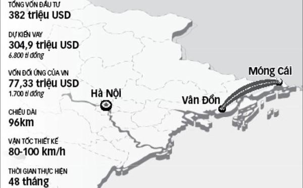 Bản đồ hướng tuyến cao tốc Vân Đồn - Móng Cái. (Ảnh: Internet)