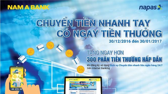 """Từ ngày 30/12/2016 đến ngày 30/01/2017, Nam A Bank triển khai chương trình """"Chuyển tiền nhanh tay – Có ngay tiền thưởng""""."""