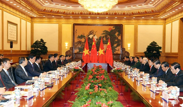 Tổng Bí thư Nguyễn Phú Trọng hội đàm với Tổng Bí thư, Chủ tịch Trung Quốc Tập Cận Bình. Ảnh: TTXVN