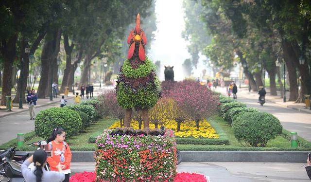 Ngắm 12 con giáp khủng bằng hoa lập thể ở Hà Nội