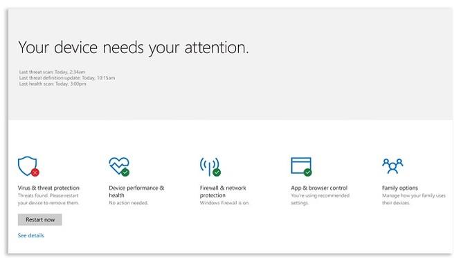 """Microsoft giới thiệu ứng dụng mới """"Defender Security Center"""" trên Windows 10"""
