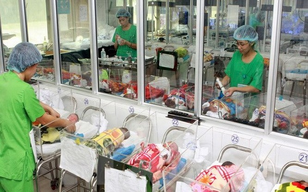 Chăm sóc trẻ sơ sinh tại Bệnh viện Phụ sản Trung ương. (Ảnh: Dương Ngọc/TTXVN)