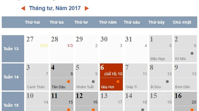Lịch tháng 4/2017