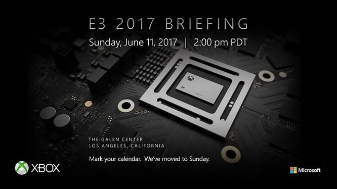 Thư mời họp báo của Microsoft tại E3 2017, diễn ra vào ngày 11/6 tại Los Angeles, bang California (Mỹ).