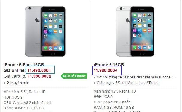 Giá bán iPhone 6 Plus đang thấp hơn cả iPhone 6. Ảnh chụp màn hình.