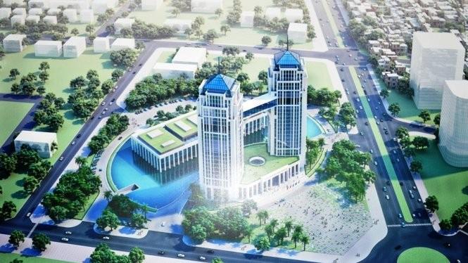 Phối cảnh tổng thể của Trung tâm hành chính Nghệ An dự kiến xây dựng