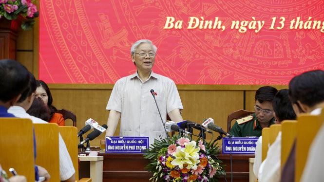Tổng Bí thư Nguyễn Phú Trọng tại buổi tiếp xúc cử tri sáng 13/5.