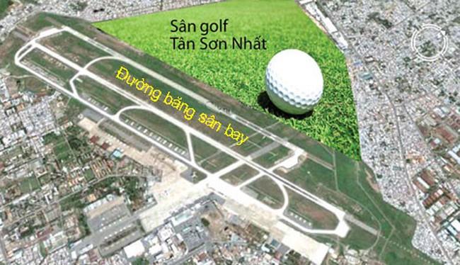 Cụm sân golf Tân Sơn Nhất đang là vấn đề được dư luận quan tâm. Bản đồ minh hoạ: Internet