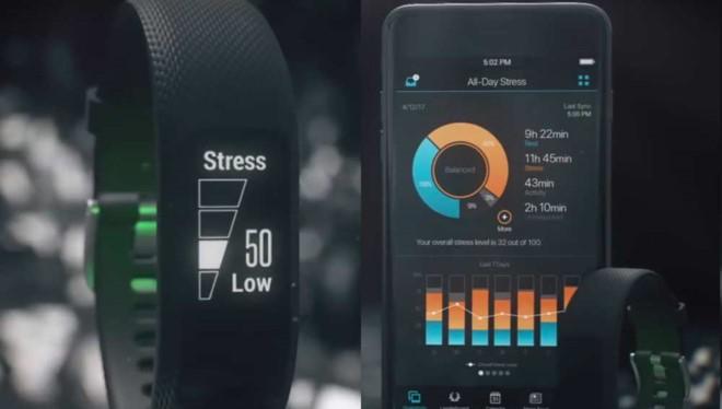 Vivosmart 3 - Đồng hồ hiển thị người dùng đang ở mức ít căng thẳng.