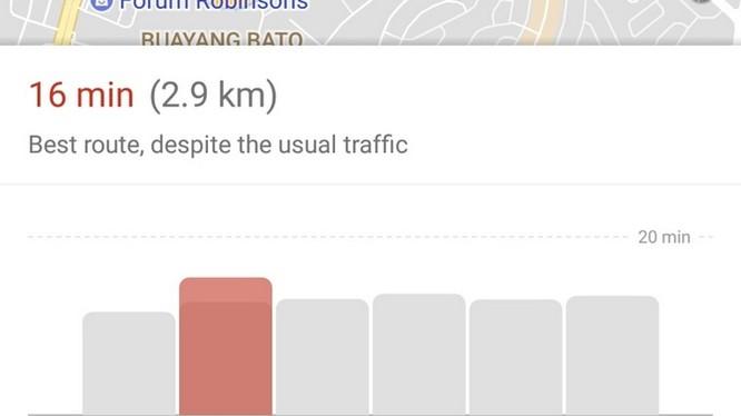 Sau khi tìm kiếm và nhấn chọn nút Nhận chỉ đường (Get Directions), người dùng chỉ cần gạt màn hình lên để thấy chi tiết tuyến đường đã chọn.