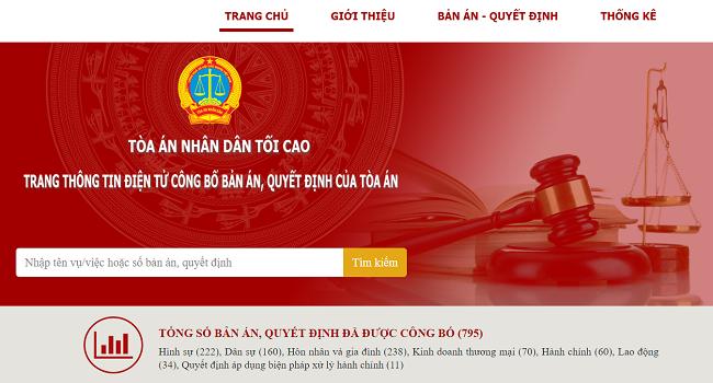 Trang chủ của trang điện tử công bố bản án