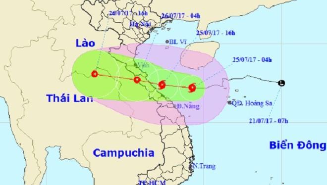 Bão số 4 suy yếu thành áp thấp nhiệt đới và đi sang Lào.