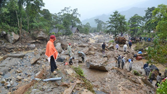 Hiện trường vụ sạt lở tại huyện Mông Sơn, TP Ngô Châu, tỉnh Quảng Tây, Trung Quốc.