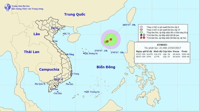 Sơ đồ đường đi áp thấp nhiệt đới - nguồn Trung tâm dự báo khí tượng thủy văn trung ương