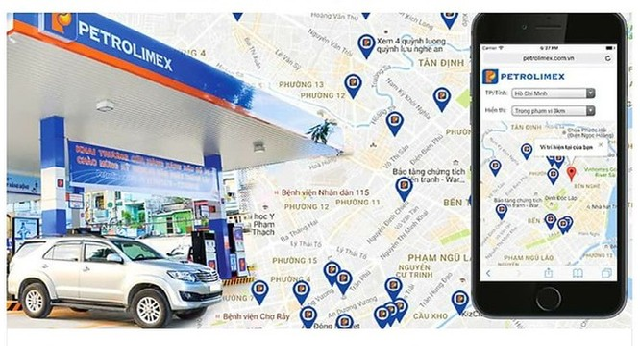 Ứng dụng Bản đồ cửa hàng xăng dầu Petrolimex.