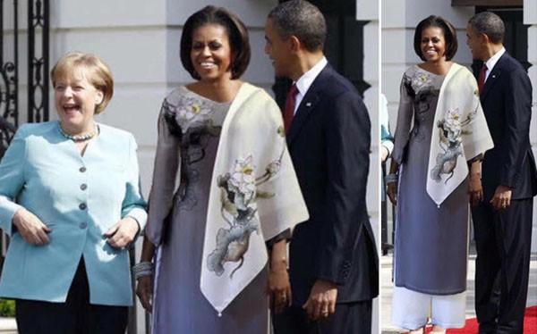 Đây chính là bức ảnh ghép phu nhân cựu tổng thống Mỹ Barack Obama mặc áo dài Việt Nam rồi lan truyền trên mạng - Ảnh: Internet