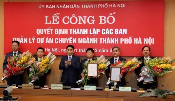 5 Ban Quản lý dự án chuyên ngành của TP Hà Nội được thành lập vào cuối năm 2016. Nguồn Cổng thông tin điện tử Hà Nội