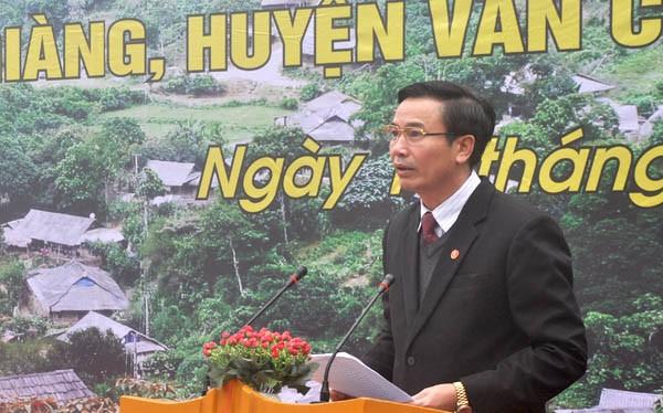 Ông Hồ Đức Hợp tại Lễ công nhận Quần thể 400 cây chè Shan Tuyết Suối Giàng là Cây Di sản Việt Nam. Nguồn: VACNE