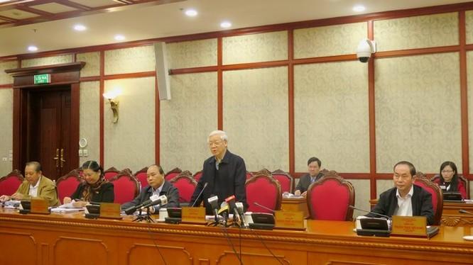 Tổng Bí thư phát biểu tại cuộc họp. Nguồn: Đảng Cộng sản