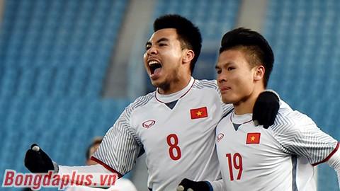 Đức Huy và Quang Hải trong chiến thắng trước Quata.