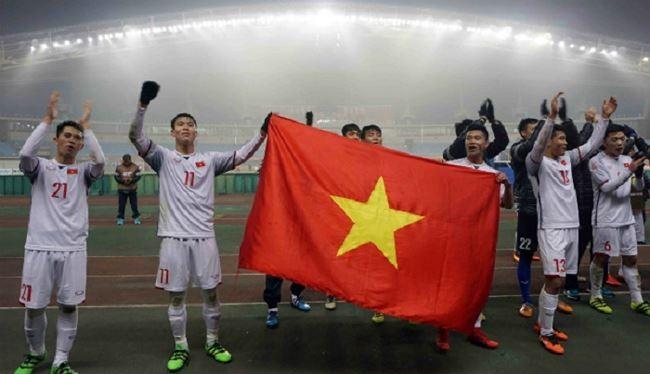 Các cầu thủ U23 Việt Nam sau trận thắng U23 Quata