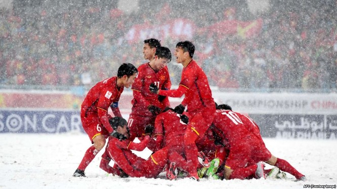 Cầu thủ U23 Việt Nam ăn mừng bàn thắng trong trận Chung kết U23 Châu Á.