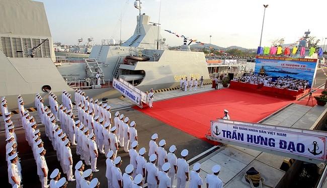 Lễ thượng cờ trên tàu 016-Quang Trung. Nguồn: VOV