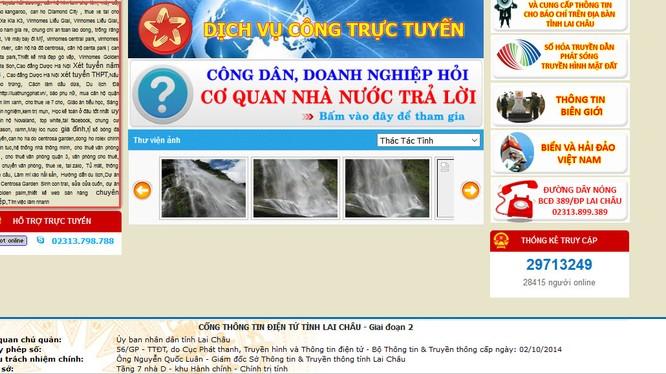 Ảnh chụp màn hình website Cổng thông tin Lai Châu